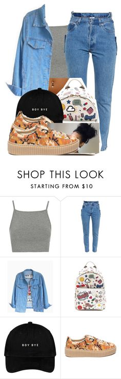 """HIP"" by trendsettajay ❤ liked on Polyvore featuring Topshop, Vetements, Anya Hindmarch and Puma"