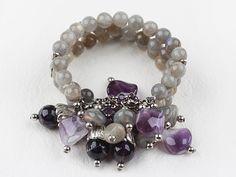Multi Strand Flashing Stone and Amethyst Elstic Bangle Bracelet