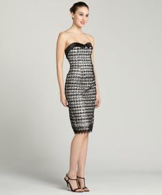 A.B.S. by Allen Schwartz black and white strapless sequin lace dress | BLUEFLY up to 70% off designer brands
