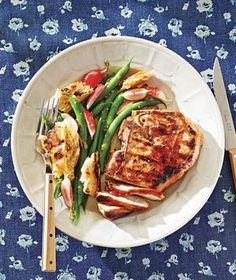 Marinated Pork Chops with Green Bean and Grilled Crouton Salad recipe