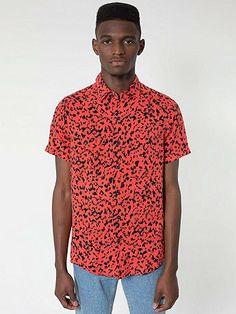 Printed Rayon Short-Sleeve Button-Up Shirt