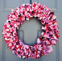 Large Valentine's Day Fabric Wreath. Found at: www.etsy.com/shop/KristinCraftsALot Rag Wreaths, Deco Mesh Wreaths, Fabric Wreath, How To Make Wreaths, 4th Of July Wreath, Garland, Valentines Day, Seasons, Shop