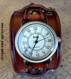 Women leather watch Dark brown watch by CuckooNestArtStudio