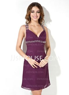 Cocktail Dresses - $112.99 - Empire V-neck Short/Mini Chiffon Cocktail Dress With Beading Sequins (016008216) http://jjshouse.com/Empire-V-Neck-Short-Mini-Chiffon-Cocktail-Dress-With-Beading-Sequins-016008216-g8216