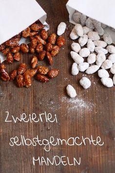 Gebrannte Mandeln und Mandeln im weißen Schokokleid