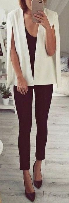 #fall #executive #peonies #outfits |  White 'Take Over Blazer'   All Black