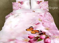 Lifelike Peach Blossom Butterfly Printing Pink 4-Piece Duvet Cover Sets