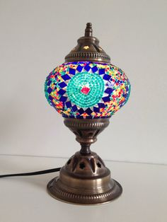 Turquoise Turkish Mosaic Lamp Blue Moroccan Style by TheLampCorner