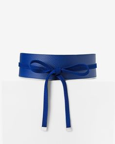 """$64.00- Can't decide between suede and pebble-texture? You no longer have to with our reverse obi wrap belt. A simple switch is the best way to make an outfit more interesting.  Reverse suede pebble obi belt  Front tie closure  Sized at the waist  Width: 2 1/2""""  Polyester/polyurethane  Imported"""
