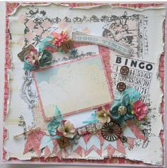 Premade Scrapbook Page 12 x 12, Vintage, Shabby Chic