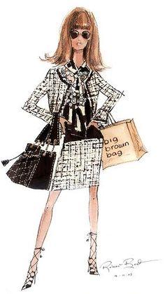 "Robert Best Barbie ""Out Shopping"" Print. (She looks like a 'Mod' Anna Wintour)."