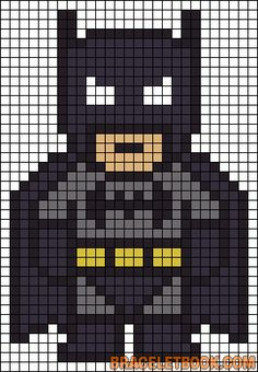 Corner to corner grid.           Batman Pearler bead/knitting/cross stitch pattern