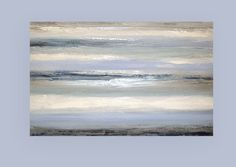 This is a one of a kind painting by acrylic artist Ora Birenbaum. I used bright white with multiple shades of blues and grays and accented with metallic silver. On my screen the white appears very creamy but it is in fact a nice bright white. Wonderful dusty appearance to the blues.