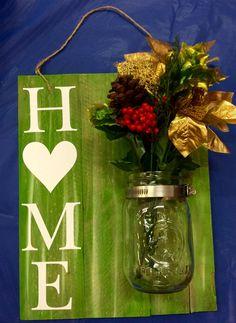 Painted reclaimed pallet wood. Mason jar vase https://m.facebook.com/groups/1734342083491329?ref=bookmarks