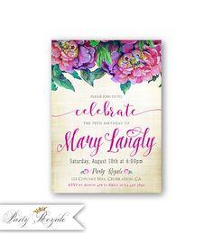 60th 70th 80th Birthday Invitations For Women Vibrant Purple 13th