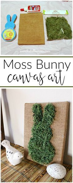 Add some pretty and inexpensive Spring decor to your home this year with this easy moss covered bunny canvas art tutorial. Add some pretty and inexpensive Spring decor to your home this year with this easy moss covered bunny canvas art tutorial. Pot Mason Diy, Mason Jar Crafts, Spring Crafts, Holiday Crafts, Hoppy Easter, Easter Bunny, Easter Dyi, Easter Crafts For Kids, Kids Diy