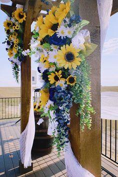 a beautiful pergola for a sunflower and navy themed wedding! Rose Wedding, Fall Wedding, Rustic Wedding, Wedding Flowers, Dream Wedding, Wedding Colors, Blue Sunflower Wedding, Sunflower Wedding Centerpieces, Sunflower Weddings