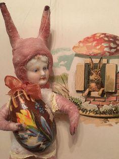 Watte Wattefigur ,jdl,shabby,Porzellankopf  16 cm Ostern, Osterhase  | eBay