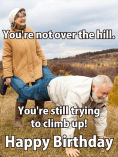 Send Free Not Over the Hill - Funny Birthday Card to Loved Ones on Birthday & Greeting Cards by Davia. It's free, and you also can use your own customized birthday calendar and birthday reminders. Funny Happy Birthday Song, Happy Birthday Animals, Happy Birthday Cousin, Belated Birthday Wishes, Birthday Quotes For Daughter, Birthday Songs, Funny Birthday Cards, Birthday Greeting Cards, Humor Birthday