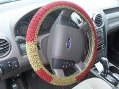 Crochet  Steering Wheel Cover -FREE PATTERN by Melissa H of Life Gets In The Way Of My Knitting