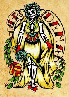 Día del arte de la pareja muerta imprime Loteria por illustratedink