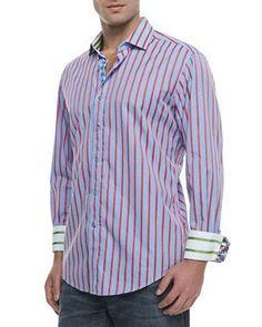 Robert Graham Elba Striped/Checked Sport Shirt, Blue/Red - Neiman Marcus