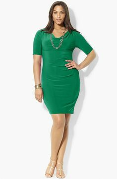 Lauren Ralph Lauren Cowl Neck Jersey Dress (Plus Size) available at #Nordstrom