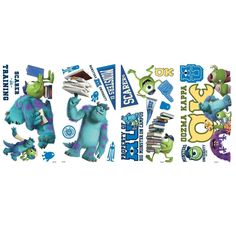 Disney MONSTERS UNIVERSITY 20 wall decals stickers Sulley Mike NEW NIP in Home & Garden, Home Décor, Decals, Stickers & Vinyl Art | eBay