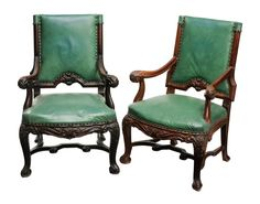Lot 142 from November 10-11, 2012 Auction - Pair Chippendale Style Carved Mahogany Open-Arm Chairs early 20th century, each finely carved and set with green upholstery with brass tacks, 44 x 26 x 21 in. - Estimate $500 to $1,000