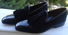 Spring/Summer 2015. My Handmade tassel loafers collection.Neapolitan cap toe handmade tassel loafers in a luxury combo of black suede and premioum calf leather.