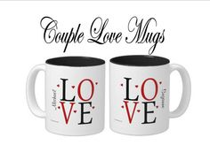 Items similar to LOVE Couple Mugs - Personalized on Etsy Couple Mugs, Love Couple, Personalized Mugs, Gifts For Pet Lovers, Couples, Etsy, Couple, Personalized Cups