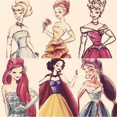 Cinderella, Belle, Aurora, Ariel, Snow White and Jasmine... These remind me of like modern day princesses at like prom