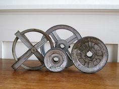 Vintage Metal Wheel Collection - Rustic Industrial Decor. $25.00, via Etsy.