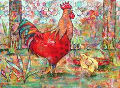 """""""Mister Rooster"""", mixed media and collage. Available"""
