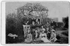 Image shows Emily Carr alongside family and friends posed in front of a pergola alongside the Carr family tennis court. Victoria B, Emily Carr, Tennis Party, Friend Poses, Great Friends, Image Shows, Law, Original Art, Brother