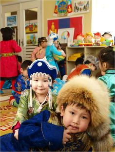 Children in kindergarten, #Mongolia -- we love their stylish and colorful clothing!    #Asia for #kids
