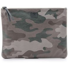 Ela Camo Editor's Pouch (€130) ❤ liked on Polyvore featuring bags, handbags, clutches, camo, pouch purse, leather purse, leather pouch purse, camouflage handbags and camoflage purses