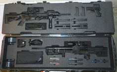 Heckler & Koch and Grendel in a Pelican case.  Custom foam.  Gun cases