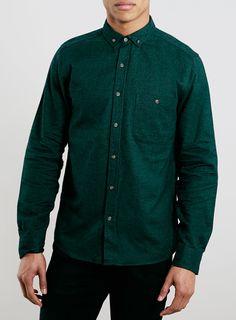 Dark Green Brushed Oxford Long Sleeve Shirt