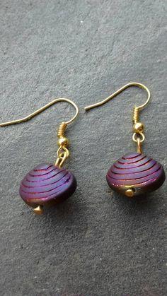 Purple Shell Earrings, Purple Earrings, Dangle Earrings, Purple Earrings, Stocking Filler, Gift For Her, Christmas Earrings, Christmas Gift by TwiggyPeasticks on Etsy