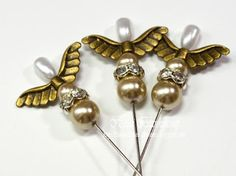 Golden Angels--Tear Drop Pearl Stickpin with Wings, Pearls and Rhinestones.