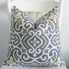 Decorative pillow cover - Throw pillow - 20X20 - Off white - Gray Blue - Yellow - New Damask - Dwell Studio