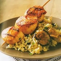 Skewered Scallops & Mushroom Risotto Recipe