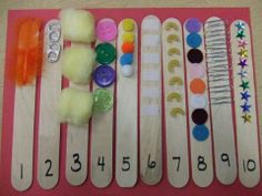 Counting sticks - Make with different items stuck on to count. Chn put them in order.
