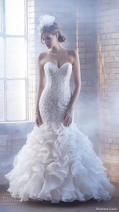 Madison James Bridal Fall 2015 Wedding Dresses | Wedding Inspirasi | Lovely Strapless Mermaid Silhouette Bridal Gown Which Showcases A Sweetheart Neckline, Lace Bodice, Organza Ruffled Skirt, Chapel Length Train××××