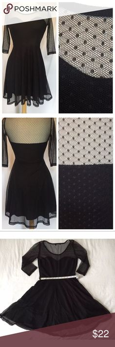 Black Swiss Dot Cocktail Dress Size Medium Black Swiss Dot Cocktail Dress Size Medium Sweetheart Top 3/4 Length Sleeve Fully lined, Worn one time, Great Condition Material Girl Dresses Mini