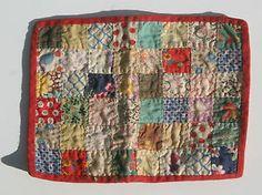 "Antique Hand Stitched Doll's Bed Patchwork Quilt 4 1 4 x 5 3 4"" Precious D573 | eBay, olebuttonz"