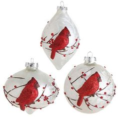 This set of 3 glass Cardinal ornaments is gorgeous!  Be sure to order before they are all gone.  Price for the Set of 3 : $43.95 http://www.perfectlyfestive.com/RAZ-Imports-Cardinal-Ornaments-Set/dp/B00MN56PZO