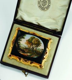 19th century micro mosaic brooch, depicting a landscape, in original fitted box...