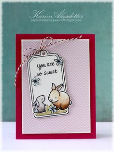 Cut-outs & Overlaps Bunny Card: Layered Tags & Cuttlebug Embossed Background - Tag You're It! Challenge